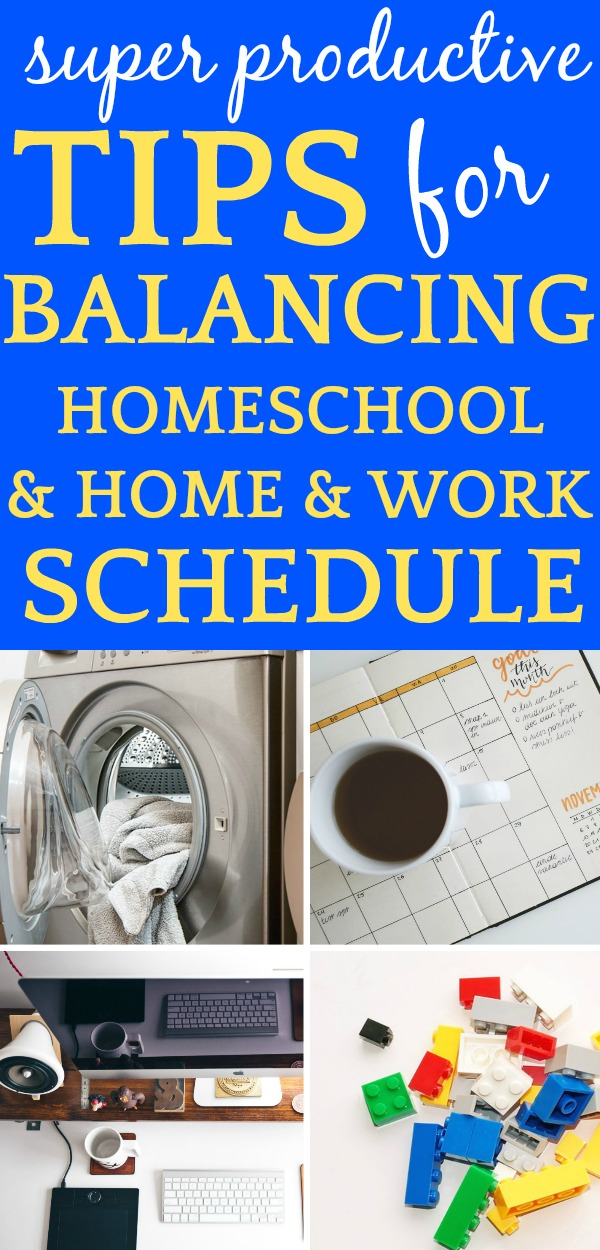 Homeschooling Schedule: QUICK TIPS FOR BALANCING HOMESCHOOLING AND HOME: 4 images of a dryer, toys, laptop, and calendar