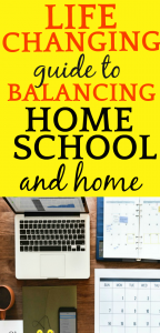 Schedule for Homeschooling | LIFE-CHANGING FREE GUIDE for Balancing Homeschooling and Home: looking down on a desk with a laptop, calendar and phone