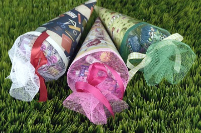 Whatto Put in a Schultute 3 back to school cones laying on grass