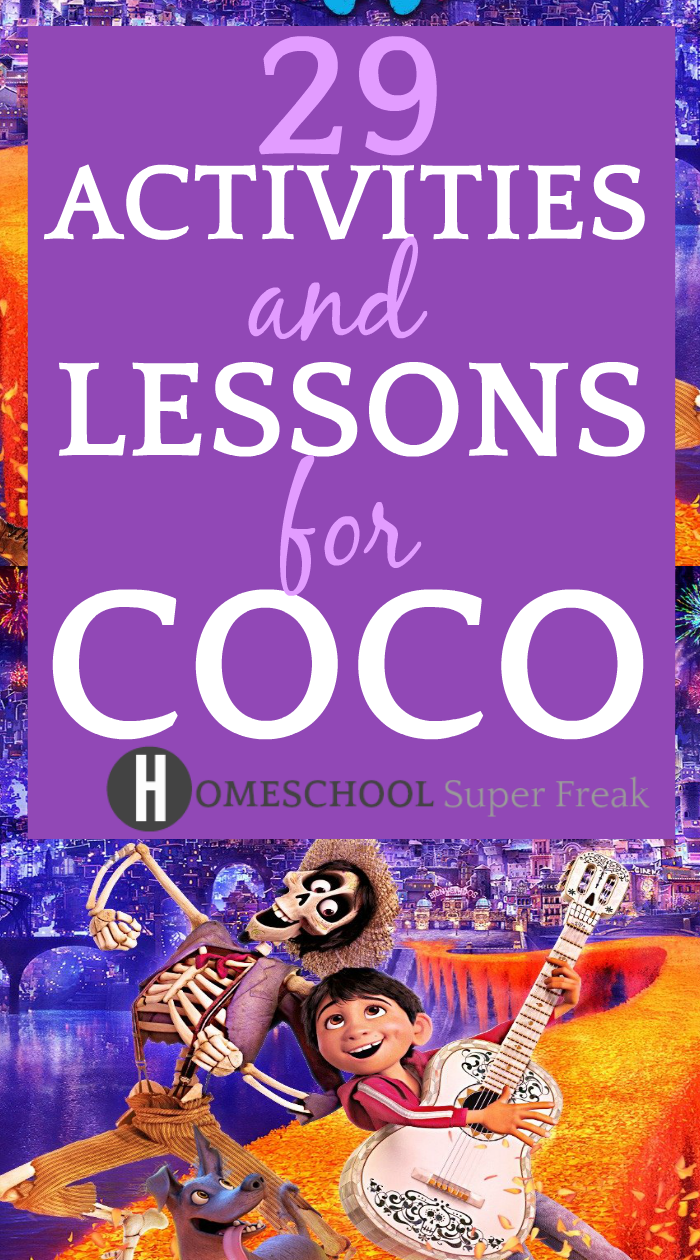 29 Coco Movie Lesson Plans and Coco Teaching Resources: dancing cartoon skeleton and boy from Coco movie