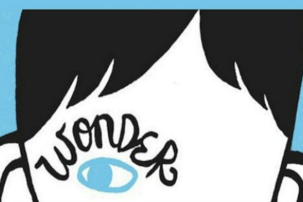 Wonder book cover closeup, blue background with a white and black abstract cartoon face