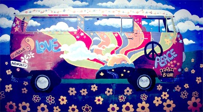 Why washomeschoolingillegal in the 1970s and When was homeschooling legalized? VW bug painted with peace and love flowers and symbols
