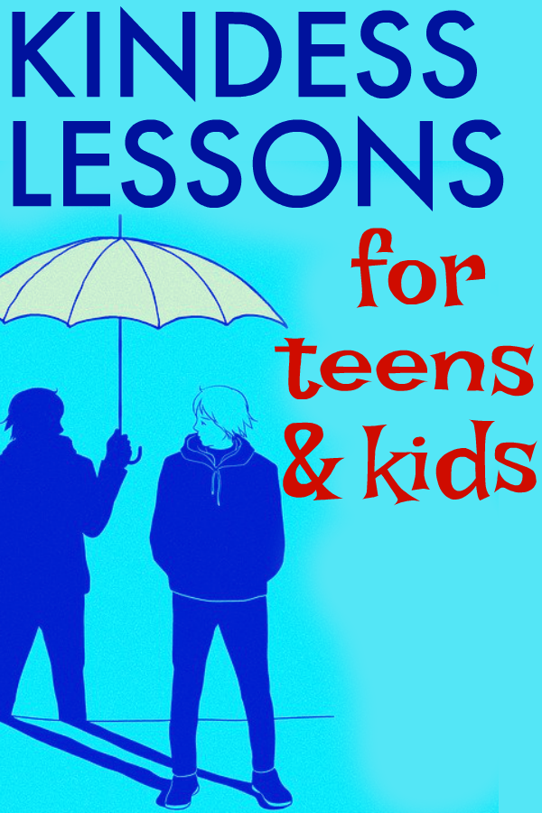 Kindness Activities for Kids and Teens drawing of a teen with his showing holding an umbrella over his head