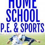 Homeschool sports and homeschool PE fitness kid kicking a soccer ball on a field