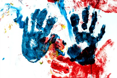 How can I homeschool my child for free? child's handprint painting