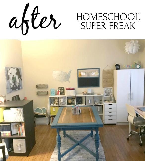 Homeschool Room Makeover Clutter AFTER PICTURE