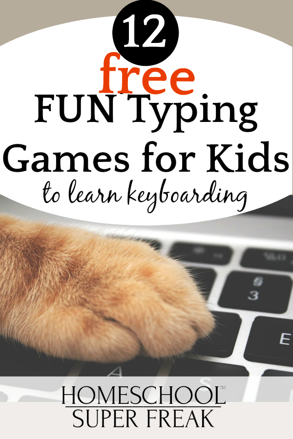 12 FREE FUN Typing Games for Kids to Learn Keyboarding: computer keyboard with cat paw on it