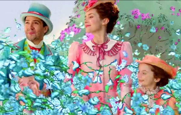 characters from the Mary Poppins Returns movie with butterflies flying in front of them