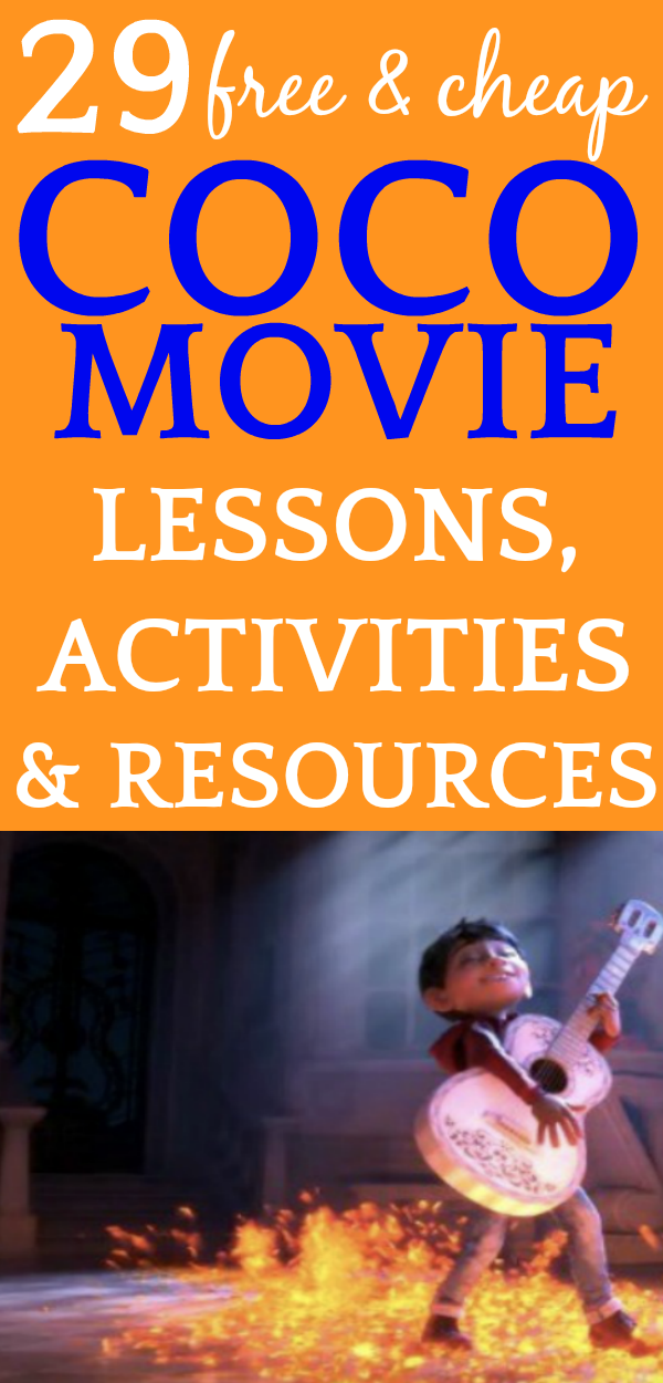 [UPDATED!] 43 Coco Movie Lesson Plans and Teaching Resources | Coco movie is a fun way to spice up your lessons and learning and we have some great Coco movie lesson plans, teaching resources, and activities for kids so that you can make a fabulous unit study out of this touching Pixar movie. #lessons #familymovienight #movies #homeschool #homeschooling #craftsforkids #lessonplans #homeschoolers #homeschoolcurriculum #curriculum