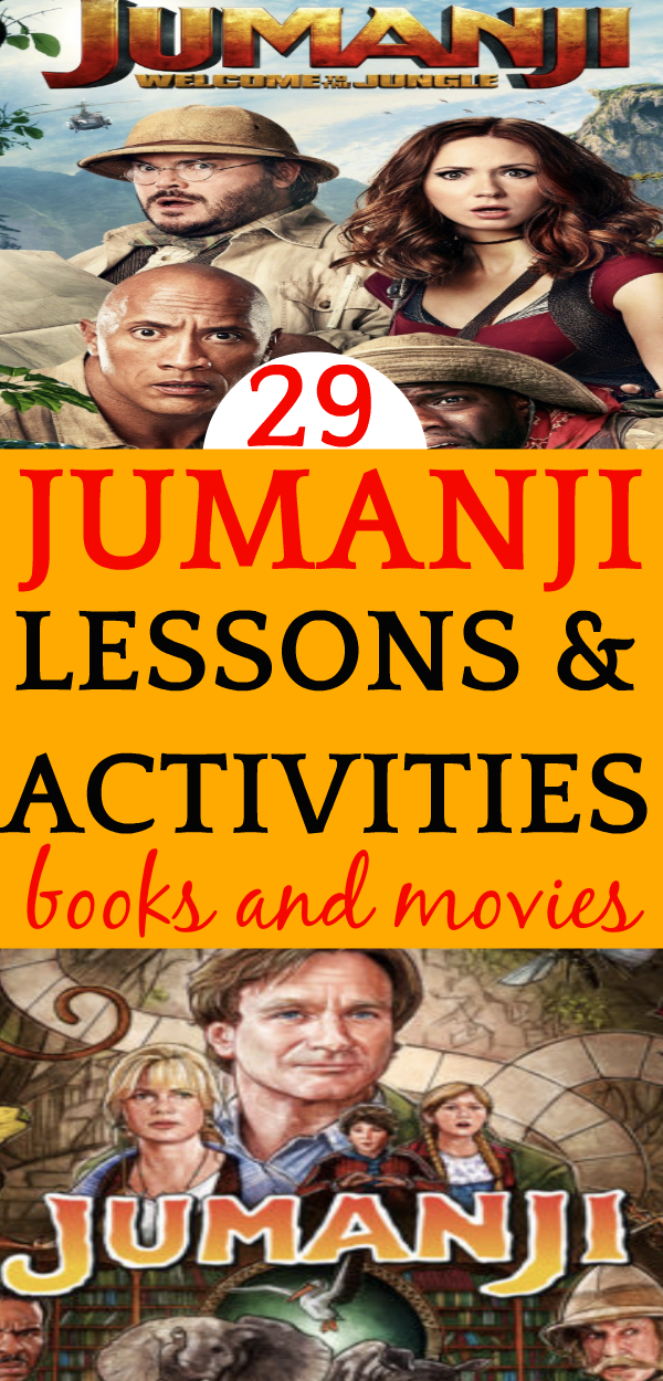 29 Jumanji Lesson Plans and Activities (Book and Movie) characters from the Jumani movies