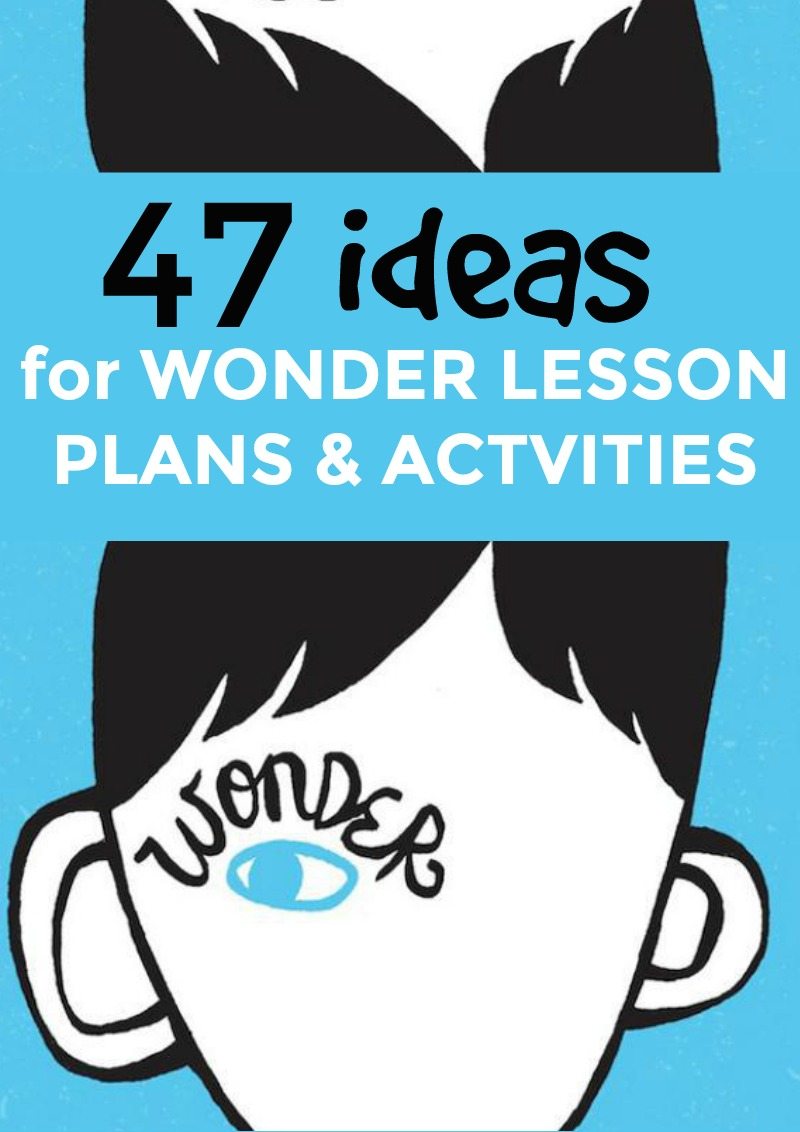 47 Wonder Lesson Plans, Activities, and Projects (Book and Movie): drawing of a boy's face and head on a solid blue background