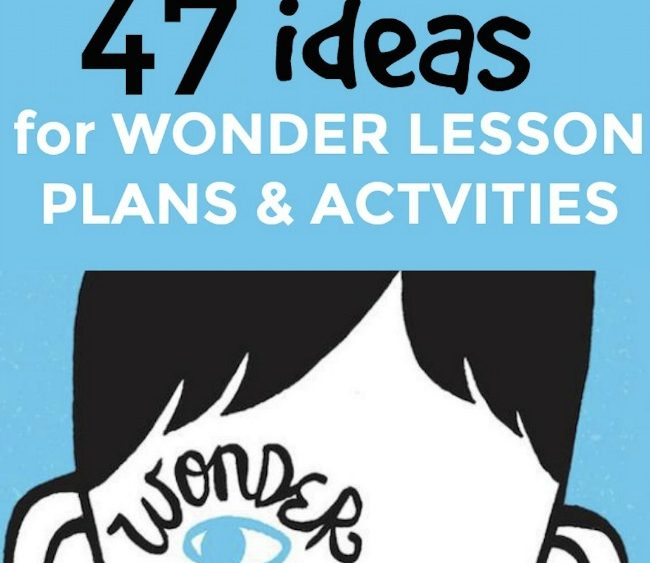 47 Wonder Lesson Plans, Activities, and Projects (Book and Movie): cartoon outline of a boy's head on a solid blue background