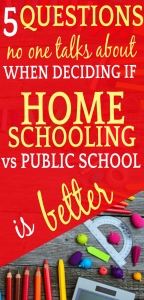 5 QUESTIONS TO ASK WHEN DECIDING IF HOMESCHOOLING VS PUBLIC SCHOOLING IS BETTER: desk with pencils, ruler and other school supplies
