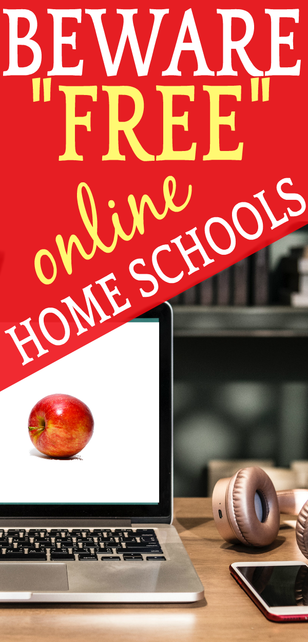Beware Free Online Homeschooling (Like Tuition-Free Online & Virtual Public School Programs): laptop computer with an apple on the screen