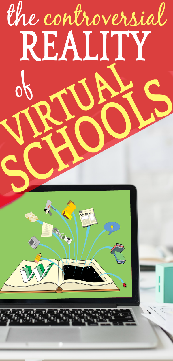 Controversial Reality of Virtual Schools Online: Pros and Cons: laptop with different learning tools on the screen