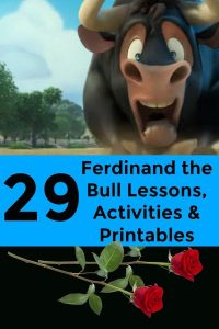 29 Ferdinand the Bull Lesson Plans and Activities (Movie and Book): cartoon image of Ferdinand the Bull character from the movie and a rose at the bottom