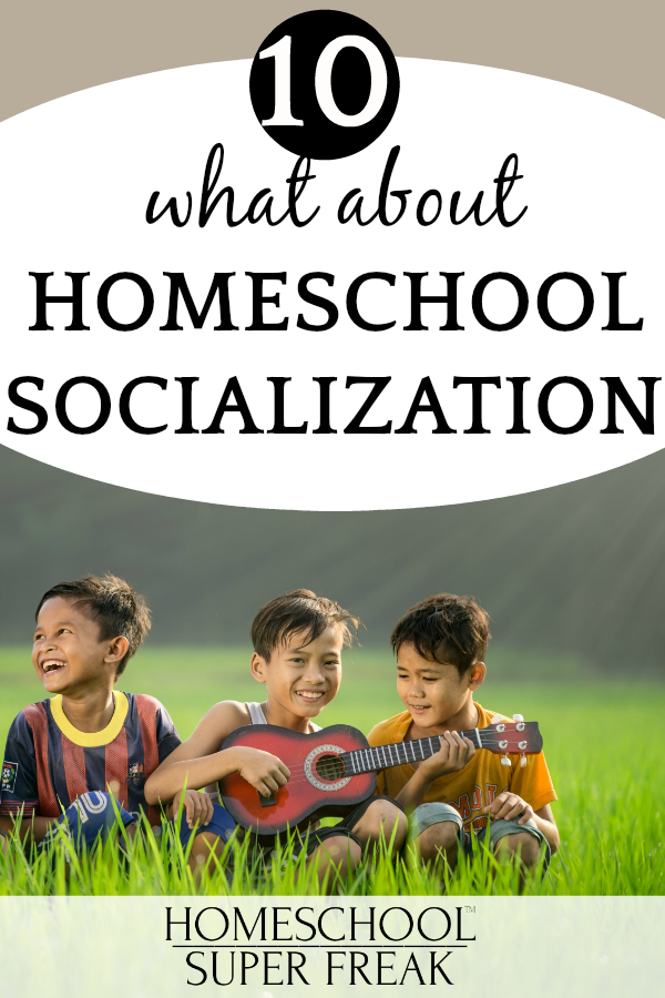 #10 IN HOW TO HOMESCHOOL SERIES: What about socialization? three little boys sitting in the grass laughing and playing guitar