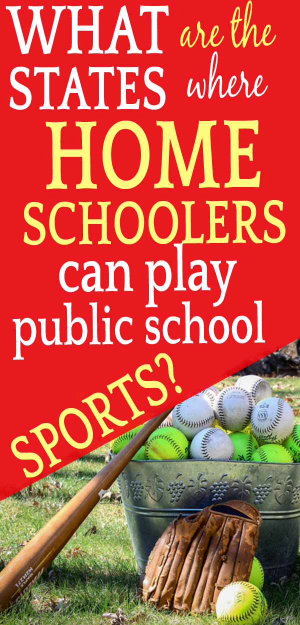 What states allow homeschoolers to play public school sports? bucket of baseballs with a baseball mitt and bat leaning against it