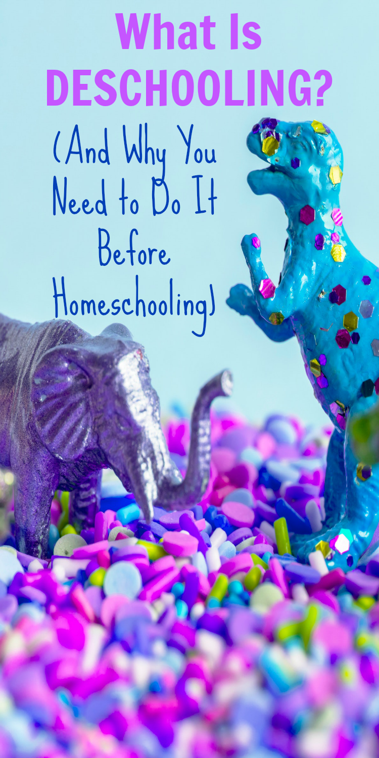 TRANSITION TO HOMESCHOOL AND DESCHOOLING IDEAS FOR KIDS Dinosaur toys in brightly colored sprinkles