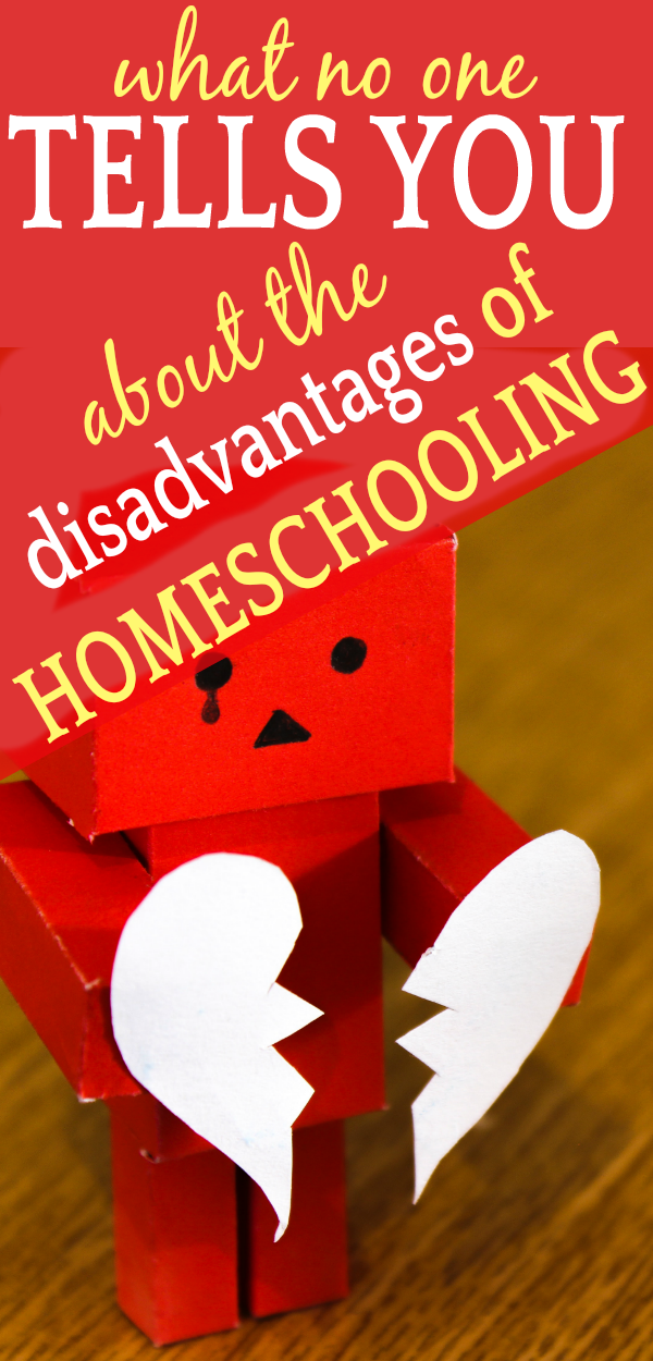 What No One Tells You About the Disadvantages of Homeschooling: a cardboard robot with a ripped paper heart in his hands