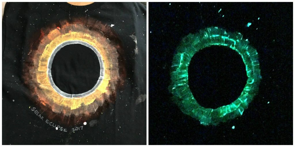 Solar Eclipse for Kids DIY Glow in Dark T shirt Craft
