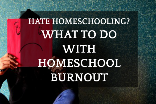 What To Do With Homeschool Burnout When You Hate Homeschooling: person holding a sad face poster in front of their face