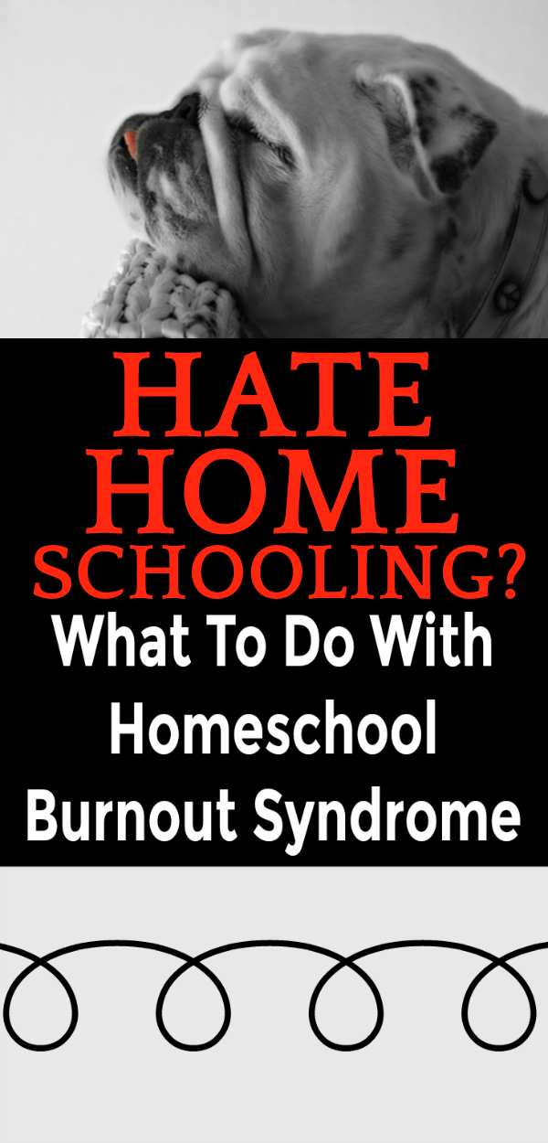 What To Do With Homeschool Burnout When You Hate Homeschooling: sad bulldog with his head on a chair back and tongue sticking out