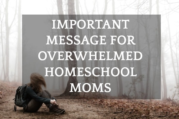 Homeschool Encouragement for Moms: woman sitting in a wooded area with her head down