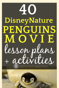 40 Disneynature Penguins Movie Lesson Plans, Activities, Educational Resources baby chick penguin under adult penguin legs with text overlay