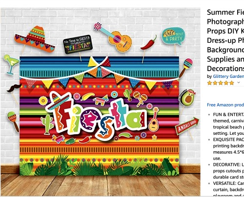 Sleepover Ideas: Fiesta and Siesta a bright backdrop with words fiesta and fiesta party items around it