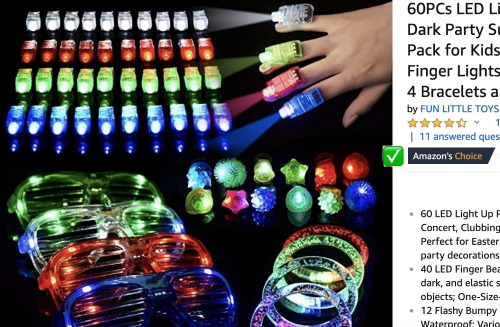 Sleepover Ideas Light Up Dance Party Pack package of lightup finger rings bracelets and glasses