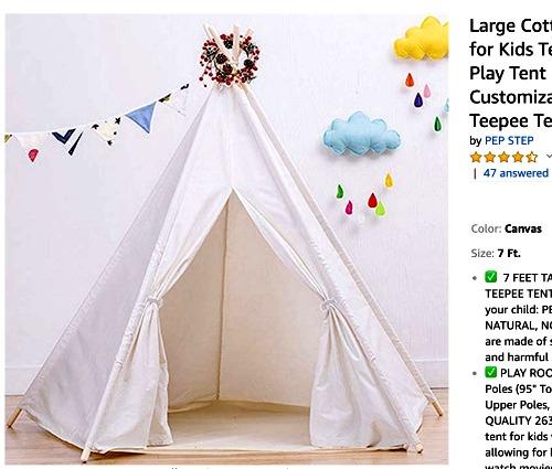 Sleepover Ideas: Teepee Tent kids canvas play teepee in a playroom
