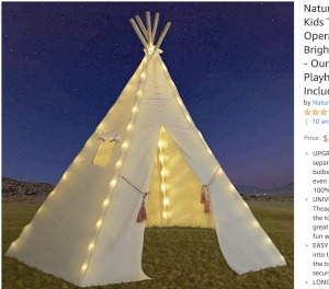 TeePee Tent Twinkle Lights kids canvas teepee tent with small white lights on the edge