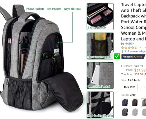 Check Back to School Sales on Backpacks gray backpack with different compartments open