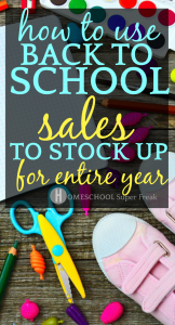 How To Use Back to School Sales to stock up for the entire year table top with school supplies like scissors paper tennis shoes