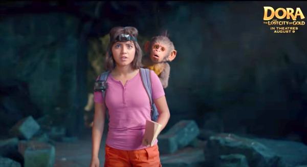 Dora The Explorer Lesson Plans, Activities, and Printables Movie and TV movie Dora human with cartoon monkey on riding on her back