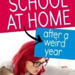 School At Home Homeschool Programs text over image of mom on laptop holding preschool age boy on lap