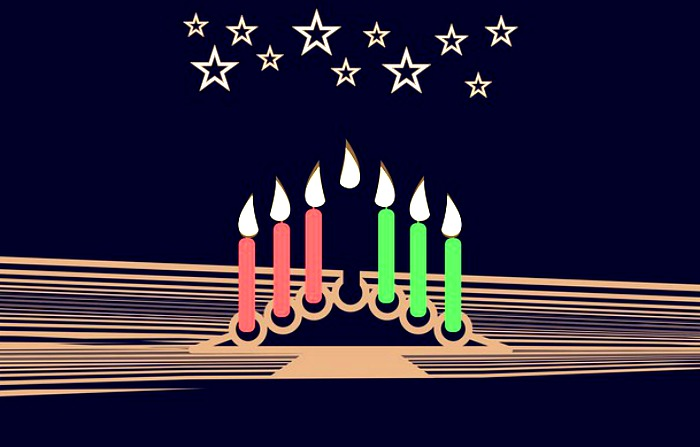 What is Kwanzaa: cartoon drawing of Kwanzaa candle holder and 7 lit candles
