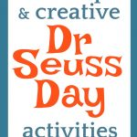 Dr Seuss Day text on a blue and red background