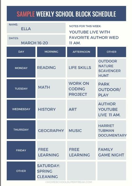 Sample Weekly School Block Schedule