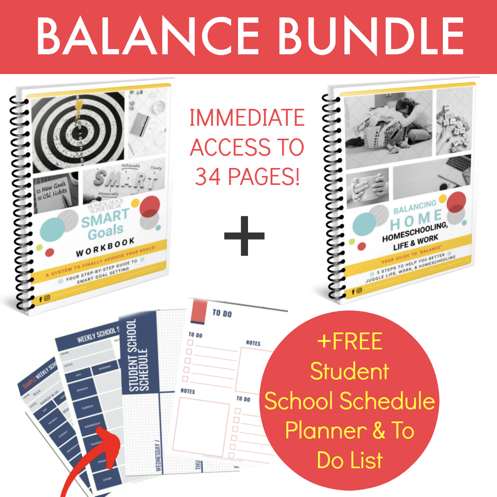 what is included in the balance bundle pack showing 2 ebooks and a planner pages fanned out