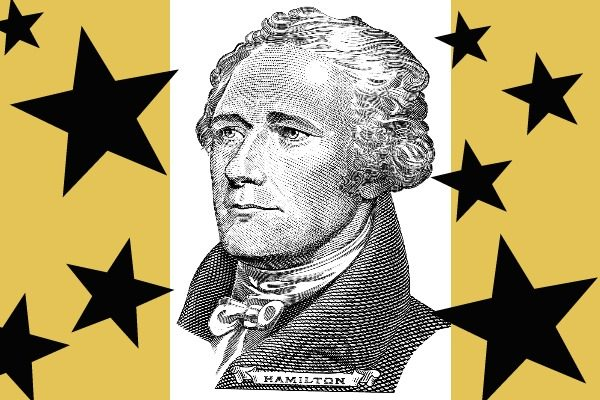 Picture of Alexander Hamilton on mustard yellow background with black stars all around